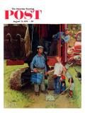 """Construction Crew"" Saturday Evening Post Cover, August 21,1954 Giclee Print by Norman Rockwell"
