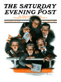 """Charlie Chaplin Fans"" Saturday Evening Post Cover, October 14,1916 Giclee Print by Norman Rockwell"