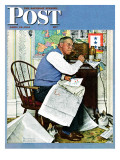 """Armchair General"" Saturday Evening Post Cover, April 29,1944 Giclee Print by Norman Rockwell"
