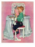 """Boy Reading his Sister's Diary"", March 21,1942 Giclee Print by Norman Rockwell"