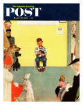 """At the Vets"" Saturday Evening Post Cover, March 29,1952 Reproduction procédé giclée par Norman Rockwell"