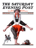 """Leapfrog"" Saturday Evening Post Cover, June 28,1919 Reproduction procédé giclée par Norman Rockwell"