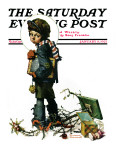 """Back to School"" or ""Vacation's End"" Saturday Evening Post Cover, January 8,1927 Giclee Print by Norman Rockwell"
