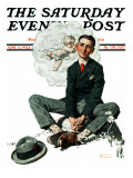 """Cupid's Visit"" Saturday Evening Post Cover, April 5,1924 Impression giclée par Norman Rockwell"