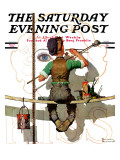 """Signpainter"" Saturday Evening Post Cover, February 9,1935 Giclee Print by Norman Rockwell"