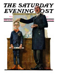 """Schoolmaster"" or ""First in his Class"" Saturday Evening Post Cover, June 26,1926 Giclee Print by Norman Rockwell"