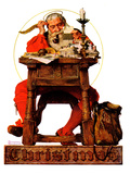 """Santa at His Desk"", December 21,1935 Giclee Print by Norman Rockwell"