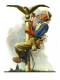 """Gilding the Eagle"" or ""Painting the Flagpole"", May 26,1928 Giclee Print by Norman Rockwell"