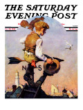 &quot;On Top of the World&quot; Saturday Evening Post Cover, October 20,1934 Reproduction proc&#233;d&#233; gicl&#233;e par Norman Rockwell