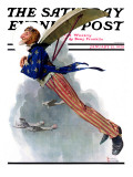 &quot;Flying Uncle Sam&quot; Saturday Evening Post Cover, January 21,1928 Giclee Print by Norman Rockwell