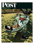"""On Leave"" Saturday Evening Post Cover, September 15,1945 Reproduction procédé giclée par Norman Rockwell"