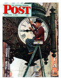 """Clock Repairman"" Saturday Evening Post Cover, November 3,1945 Giclee Print by Norman Rockwell"