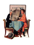 """Breakfast Table"" or ""Behind the Newspaper"", August 23,1930 Giclee Print by Norman Rockwell"