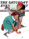 """""""Marble Champion"""" or """"Marbles Champ"""" Saturday Evening Post Cover, September 2,1939 Reproduction procédé giclée par Norman Rockwell"""