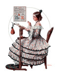 """Needlepoint"", March 1,1924 Giclee Print by Norman Rockwell"