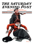 """Skating Lesson"" Saturday Evening Post Cover, February 7,1920 Giclee Print by Norman Rockwell"
