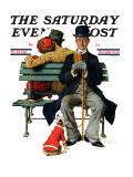 """Overheard Lovers"" (man on park bench) Saturday Evening Post Cover, November 21,1936 Giclee Print by Norman Rockwell"