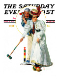 """Croquet"" or ""Wicket Thoughts"" Saturday Evening Post Cover, September 5,1931 Impression giclée par Norman Rockwell"