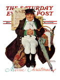 """Merrie Christmas"" or Muggleston Coach Saturday Evening Post Cover, December 17,1938 Giclee Print by Norman Rockwell"