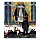 """Party's Over"" or ""Happy New Year"", December 29,1945 Giclee Print by Norman Rockwell"