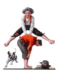 """Leapfrog"", June 28,1919 Reproduction procédé giclée par Norman Rockwell"