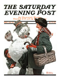 &quot;Gramps and the Snowman&quot; Saturday Evening Post Cover, December 20,1919 Giclee Print by Norman Rockwell