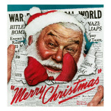 """Santa's in the News"", December 26,1942 Giclee Print by Norman Rockwell"