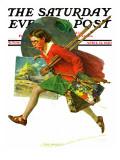 """""""Wet Paint"""" Saturday Evening Post Cover, April 12,1930 Impression giclée par Norman Rockwell"""