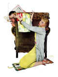"""Decorator"", March 30,1940 Giclee Print by Norman Rockwell"