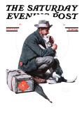 """Man and Dog"" or ""Pals"" Saturday Evening Post Cover, September 27,1924 Reproduction procédé giclée par Norman Rockwell"