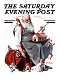 """Santa with Elves"" Saturday Evening Post Cover, December 2,1922 Giclee Print by Norman Rockwell"