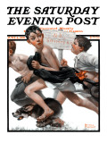 &quot;No Swimming&quot; Saturday Evening Post Cover, June 4,1921 Reproduction proc&#233;d&#233; gicl&#233;e par Norman Rockwell