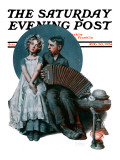 """Accordionist"" or ""Serenade"" Saturday Evening Post Cover, August 30,1924 Giclee Print by Norman Rockwell"