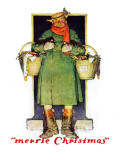 """Merrie Christmas"", December 10,1932 Giclee Print by Norman Rockwell"