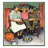 """Home for Thanksgiving"", November 24,1945 Reproduction procédé giclée par Norman Rockwell"