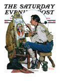 """Colonial Sign Painter"" Saturday Evening Post Cover, February 6,1926 Giclee Print by Norman Rockwell"