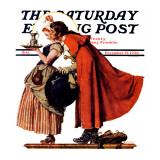 """Mistletoe Kiss"" or ""Feast for a Traveler"" Saturday Evening Post Cover, December 19,1936 Giclee Print by Norman Rockwell"