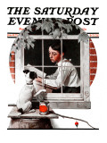 """Dog Outside"" or ""Patient Friend"" Saturday Evening Post Cover, June 10,1922 Giclee Print by Norman Rockwell"