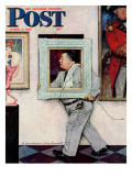 """Picture Hanger"" or ""Museum Worker"" Saturday Evening Post Cover, March 2,1946 Reproduction procédé giclée par Norman Rockwell"