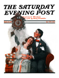 &quot;Courting under the Clock at Midnight&quot; Saturday Evening Post Cover, March 22,1919 Giclee Print by Norman Rockwell