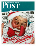 """Santa's in the News"" Saturday Evening Post Cover, December 26,1942 Giclee Print by Norman Rockwell"