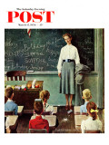 """Happy Birthday, Miss Jones"" Saturday Evening Post Cover, March 17,1956 Reproduction procédé giclée par Norman Rockwell"