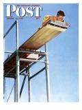 """Boy on High Dive"" Saturday Evening Post Cover, August 16,1947 Giclee Print by Norman Rockwell"