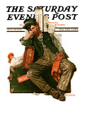 """Asleep on the Job"" Saturday Evening Post Cover, August 29,1925 Giclee Print by Norman Rockwell"