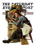 """Law Student"" Saturday Evening Post Cover, February 19,1927 Giclee-trykk av Norman Rockwell"