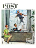 """Window Washer"" Saturday Evening Post Cover, September 17,1960 Giclee Print by Norman Rockwell"