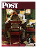 &quot;It&#39;s Income Tax Time Again!&quot; Saturday Evening Post Cover, March 17,1945 Giclee Print by Norman Rockwell