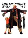 """Puppy in the Pocket"" or ""The Gift"" Saturday Evening Post Cover, January 25,1936 Giclee Print by Norman Rockwell"