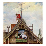 """New T.V. Set"", November 5,1949 Reproduction procédé giclée par Norman Rockwell"