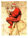 """Santa at the Map"", December 16,1939 Giclee Print by Norman Rockwell"